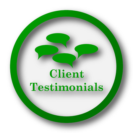 testimonials: Client testimonials icon. Internet button on white background.