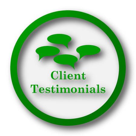 Client testimonials icon. Internet button on white background.