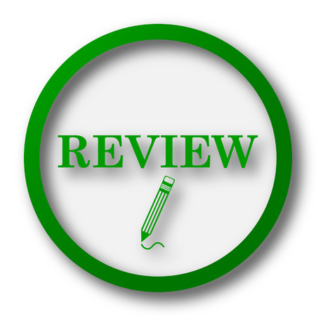 Review icon. Internet button on white background.