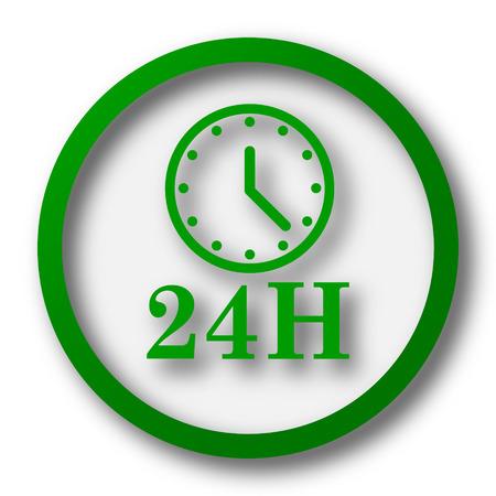 24H clock icon. Internet button on white background. Фото со стока
