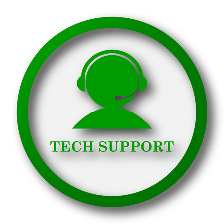 customer support: Tech support icon. Internet button on white background.