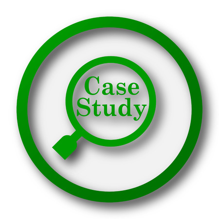 business case: Case study icon. Internet button on white background.