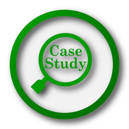 case: Icono Estudio de caso. Botón de internet sobre fondo blanco. Foto de archivo