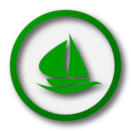 3d sail boat: Sailboat icon. Internet button on white background. Stock Photo