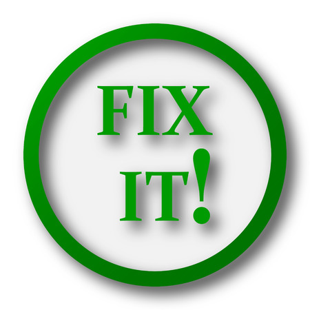 green issue: Fix it icon. Internet button on white background. Stock Photo