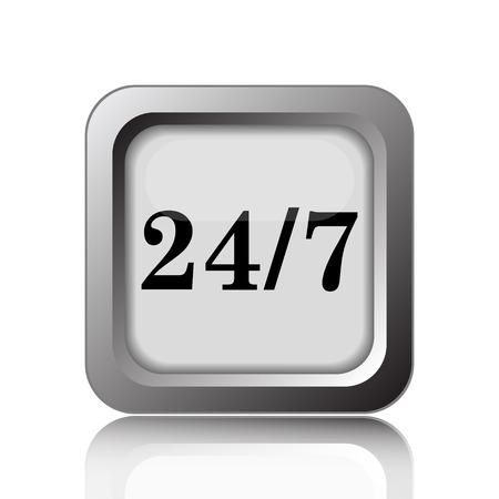 twenty four hour: 24 7 icon. Internet button on white background.