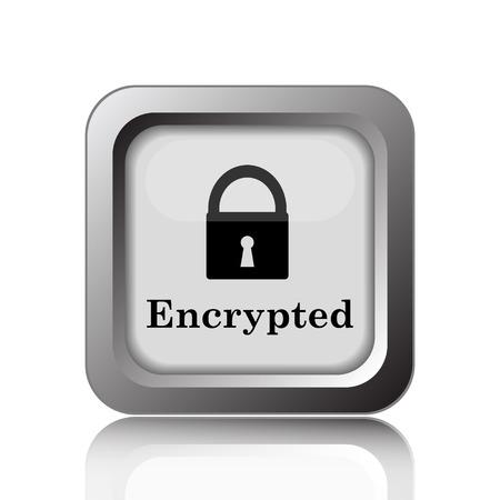 encrypt: Encrypted icon. Internet button on white background. Stock Photo