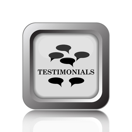 authenticate: Testimonials icon. Internet button on white background.