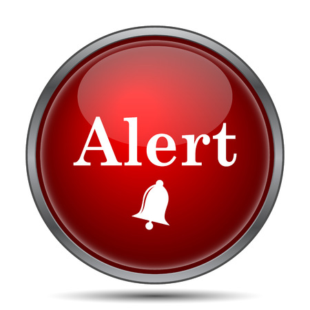 alerta: Icono de alerta. Bot�n de internet sobre fondo blanco.