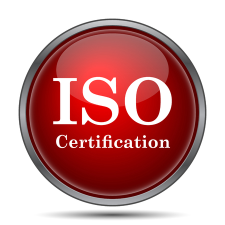 iso: ISO certification icon. Internet button on white background.