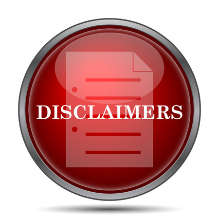 use regulation: Disclaimers icon. Internet button on white background. Stock Photo