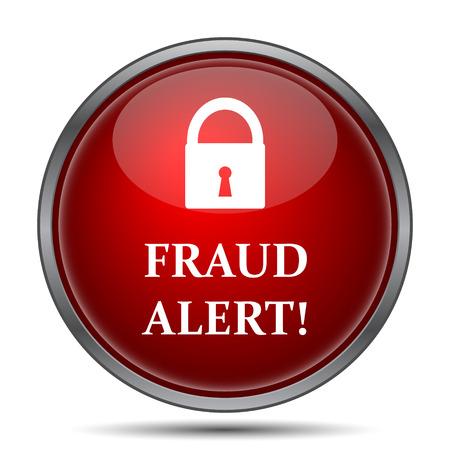 alerta: Icono de alerta de fraude. Botón de internet sobre fondo blanco. Foto de archivo