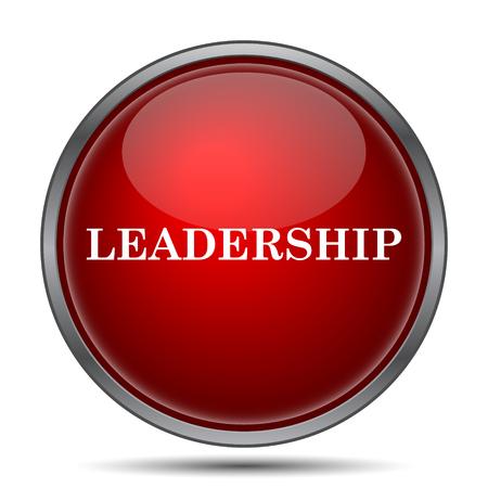 liderazgo: Icono de Liderazgo. Botón de internet sobre fondo blanco.