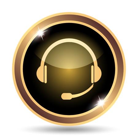 gold record: Headphones icon. Internet button on white background. Stock Photo
