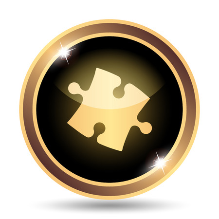puzzle background: Puzzle piece icon. Internet button on white background. Stock Photo