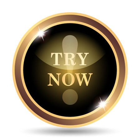 try: Try now icon. Internet button on white background.