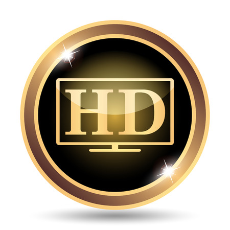 full hd: HD TV icon. Internet button on white background.