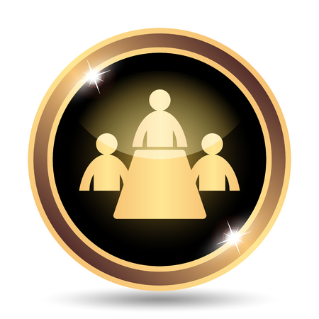 golden symbols: Meeting room icon. Internet button on white background.