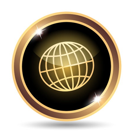 golden symbols: Globe icon. Internet button on white background. Stock Photo