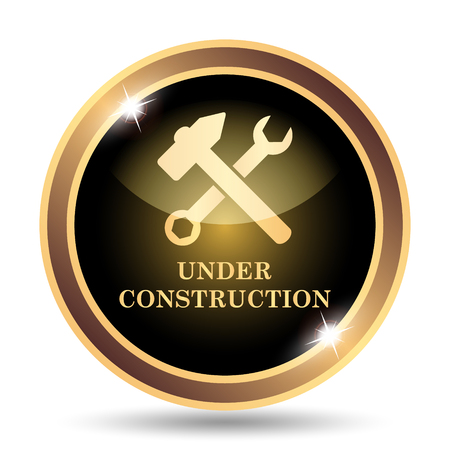 under construction road sign: Under construction icon. Internet button on white background.