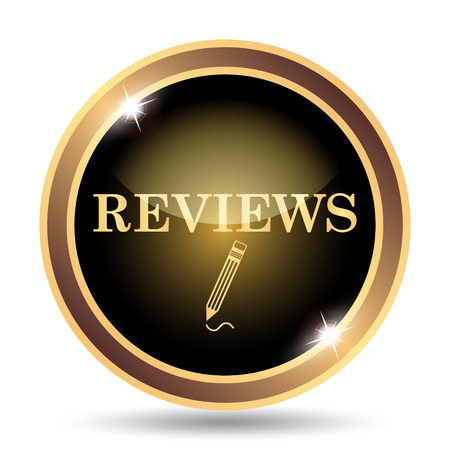 investigate: Reviews icon. Internet button on white background. Stock Photo