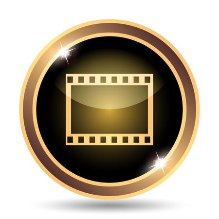 golden symbols: Photo icon. Internet button on white background.
