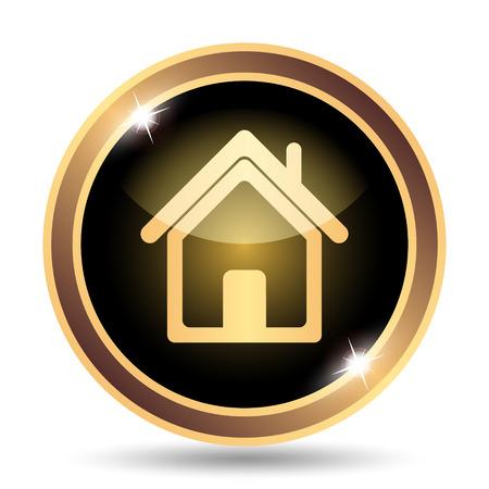 golden symbols: Home icon. Internet button on white background.