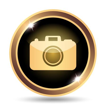 golden symbols: Photo camera icon. Internet button on white background.