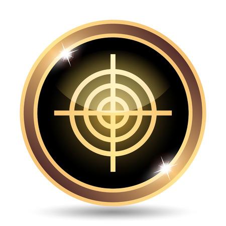 golden symbols: Target icon. Internet button on white background.