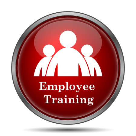 従業員トレーニング ・ アイコン。白い背景の上のインター ネット ボタン。