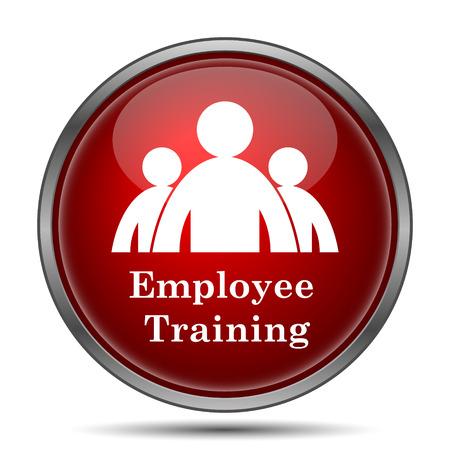 capacitacion: Icono de formación de los empleados. Botón de internet sobre fondo blanco. Foto de archivo