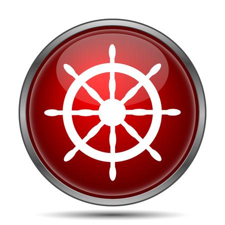 dockyard: Nautical wheel. Internet button on white background.