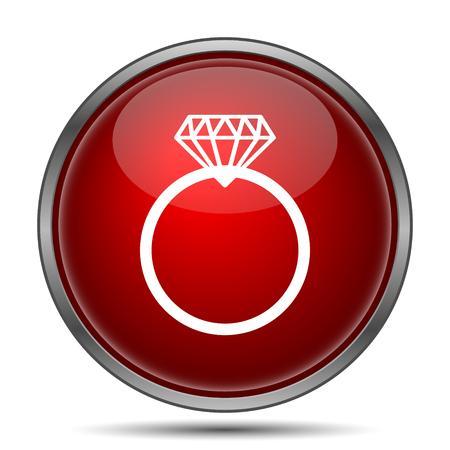 Diamond ring. Internet button on white background.