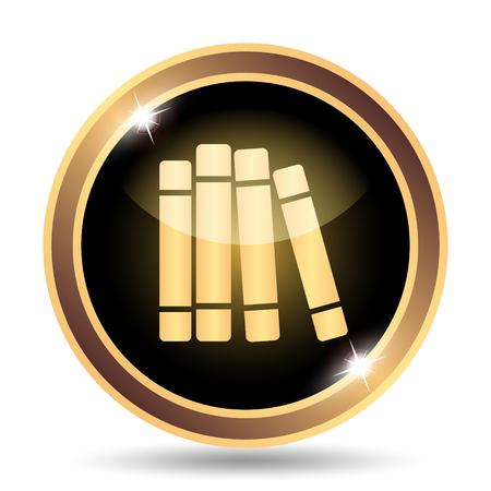 bookshelf digital: Books library icon. Internet button on white background.