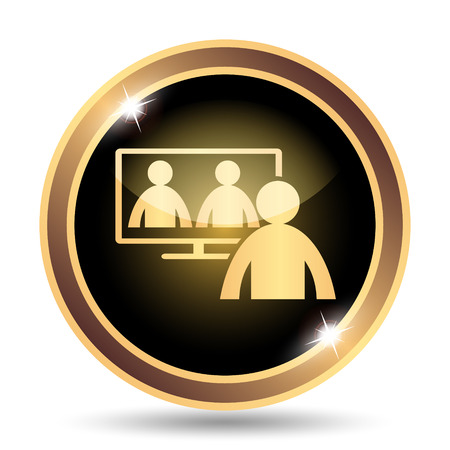 affairs: Video conference, online meeting icon. Internet button on white background. Stock Photo