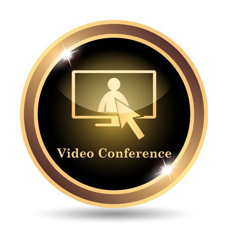Video conference, online meeting icon. Internet button on white background. Фото со стока