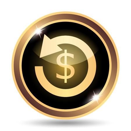 restitution: Refund. Internet button on white background.