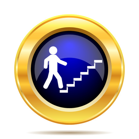 ascent: Businessman on stairs - success icon. Internet button on white background.