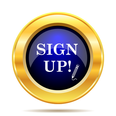 sign up icon: Sign up icon. Internet button on white background.