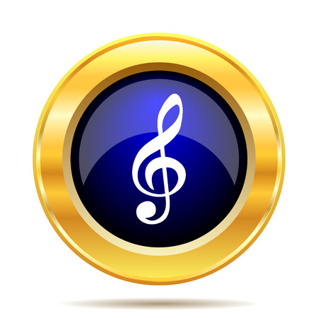 gold record: Musical note icon. Internet button on white background.