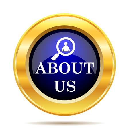about: About us icon. Internet button on white background.