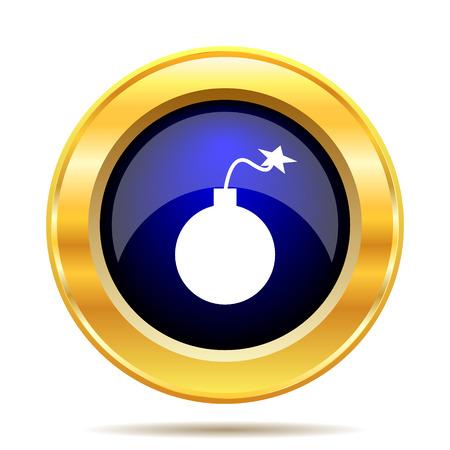 gold mine: Bomb icon. Internet button on white background.