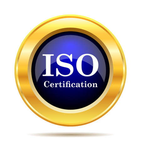certify: ISO certification icon. Internet button on white background.