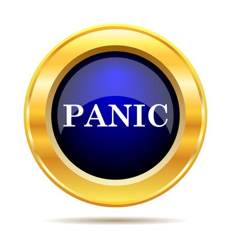 panic button: Panic icon. Internet button on white background. Stock Photo