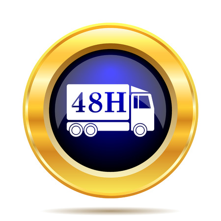 48: 48H delivery truck icon. Internet button on white background.