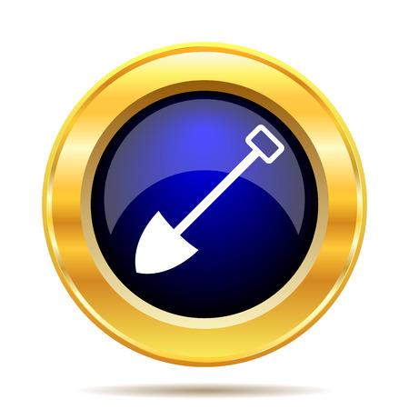 gold shovel: Shovel icon. Internet button on white background. Stock Photo