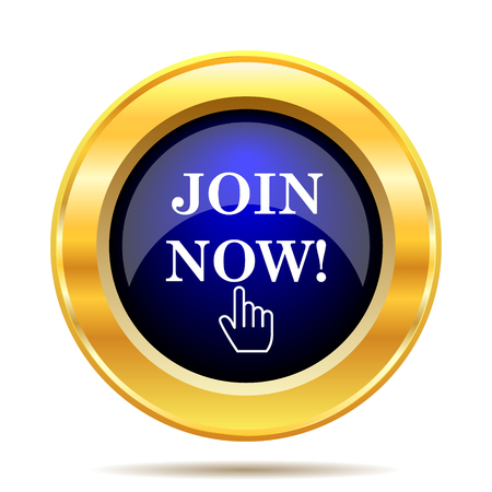Join now icon. Internet button on white background. Фото со стока