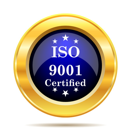 certificated: ISO9001 icon. Internet button on white background.