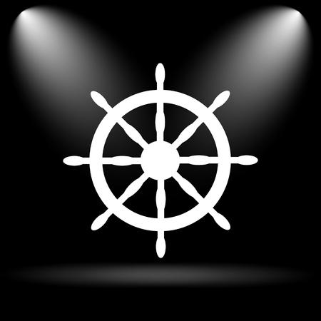 Nautical wheel. Internet button on black background.