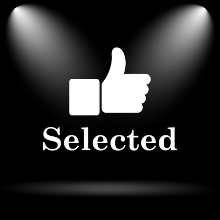 selected: Selected icon. Internet button on black background. Stock Photo